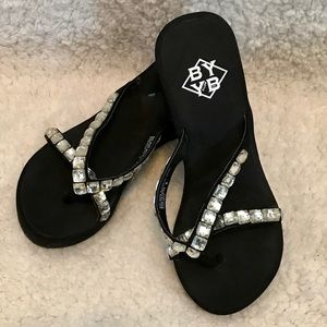 ab076f1fcfd BYYB Shoes - Super cute BY YB Black and Silver Flip flops